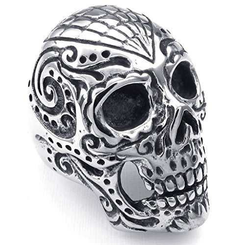 [Bishilin Stainless Steel Fashion Men's Rings Bold Massive Punk Gothic Skull Silver Size 7] (His And Her Costumes 2016)