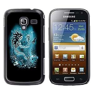 GOODTHINGS Funda Imagen Diseño Carcasa Tapa Trasera Negro Cover Skin Case para Samsung Galaxy Ace 2 I8160 Ace II X S7560M - azul marino esqueleto bajo el agua
