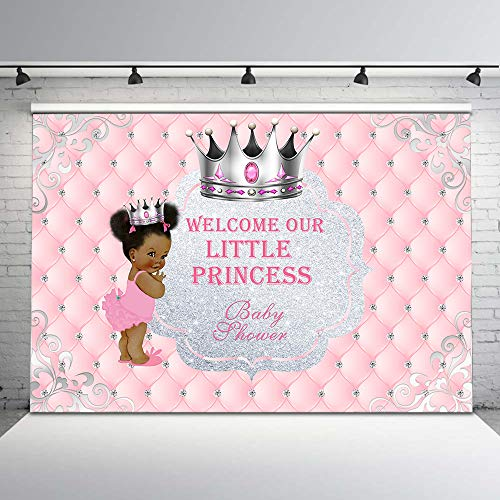 Mehofoto Pink and Sliver Baby Shower Backdrop for Baby Girls Cute Ethnic Little Princess Photo Background 7x5ft Glitter Sliver Crown Tufted Backdrops for Baby Shower Party -