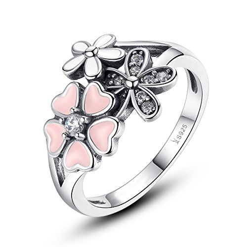 82aabd7c4 Presentski Cherry Blossom Ring,925 Sterling Silver with Cubic Zirconia for  Women,Size 6