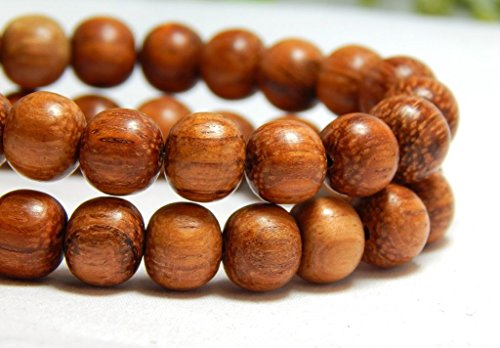 50 Natural Bayong Wood Beads Wooden Round Nature Red Brown DIY Craft 8mm