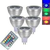 OMTO MR16 3W RGB Color Changing Spotlight with IR Remote Control Mood Ambiance Lighting Colorful LED Light Bulbs,Dimmable 12V (Pack of 5)