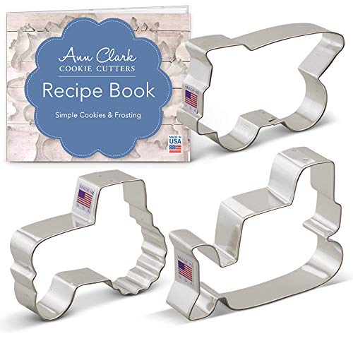 (Construction Vehicles/Machines Cookie Cutter Set with Recipe Book - 3 piece - Bulldozer, Dump Truck and Tractor - Ann Clark - Tin Plated)