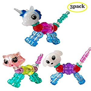 Svyaxfa DIY Make a Bracelet Twist into a Pet Magic Bracelet Set Kids Girls (Unicorn Kitty Puppy)