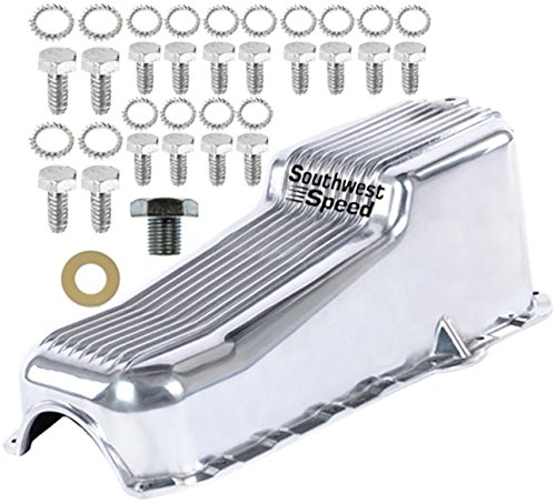 NEW SOUTHWEST SPEED POLISHED ALUMINUM FINNED OIL PAN FOR 1986-2002 SMALL BLOCK CHEVY 262-350ci ENGINES, 1 PIECE REAR MAIN SEAL, 4 QUART, RIGHT HAND DIPSTICK (4 Main Transmission Seal Speed)