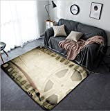 Vanfan Design Home Decorative 187269863 Grunge old motion picture film reel with film strip Vintage background Modern Non-Slip Doormats Carpet for Living Dining Room Bedroom Hallway Office Easy Clean