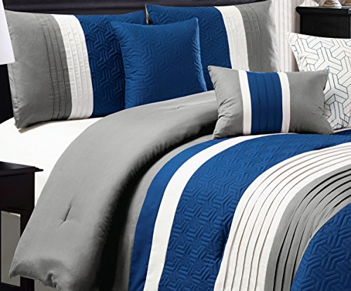 7 Piece Set Bed Linens (Modern 7 Piece Bedding NAVY BLUE, WHITE, GREY Pin Tuck Embossed QUEEN Comforter Set with accent pillows)