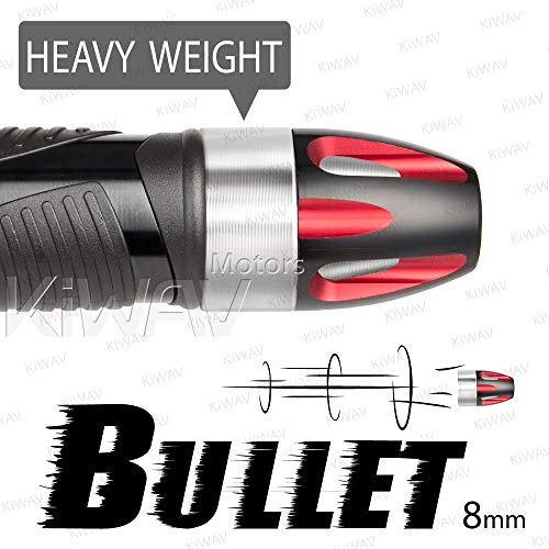 (KiWAV Magazi Handle Bar End Weight Bar End Caps Plugs Bullet Red w/Silver Base Fit 7/8