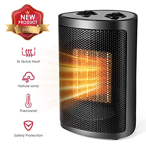 Space Heater, Quiet Mini Electric Ceramic Heater, Adjustable Thermostat, Over-Heat Protection and...