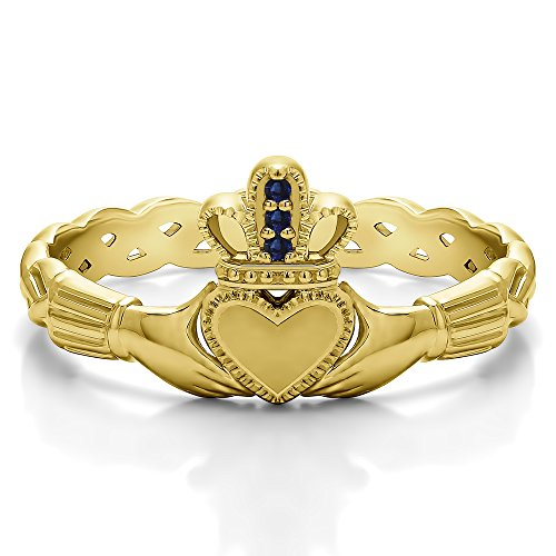 (Yellow Plated Silver Sapphire .02 CT Sapphire Celtic Claddagh Ring (Size 3 To 15 1/4 Size Interval))