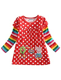 Peppa Pig Little Girls Long Sleeve Embroidery Cotton T-Shirts Tees 1-6Y