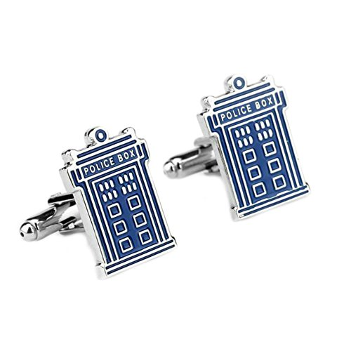 Athena Brands Dr Who - Tardis Movie TV Wedding Groomsman Mens Boys Cufflinks Set w/Gift Box -