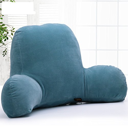 Misslight - Cojín de lectura para sillón o cama, de algodón, forma de T, algodón, azul, large