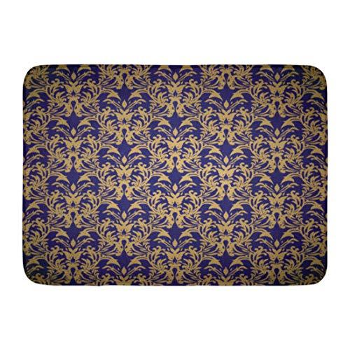 Antique Rug Rectangle Gold (Emvency Doormats Bath Rugs Outdoor/Indoor Door Mat Cobalt Golden Floral Blue Gradient Damask Abstract Antique Baroque Bathroom Decor Rug 16