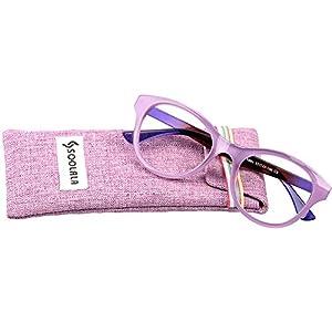 SOOLALA Lovely Hit Color Oversized Clear Lens Eye Glasses Frame Wide Reading Glasses, Purple, +2.0D