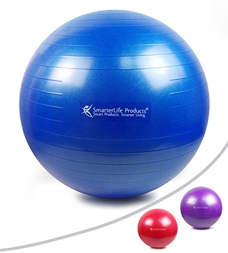 EXERCISE BALL - GYM GRADE QUALITY, Anti-Burst, Anti-Slip Exercise Balls, Fast Start Stability Ball Workout Guide, Perfect for Yoga Ball, Pilates, CrossFit - Your New Desk Chair! (Blue, 75 cm)