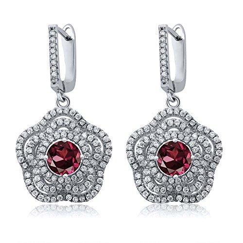 Gem Stone King 4.64 Ct Round Red Rhodolite Garnet 925 Sterling Silver Earrings