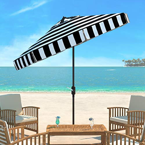 Safavieh PAT8003A Outdoor Collection Elsa Fashion Line Auto Tilt Umbrella, 9', Black/White ()