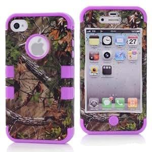 SHHR-HX4G188N Tree Camo Design Hybrid Cover Case for Apple iPhone4 4s 4G -Purple Color