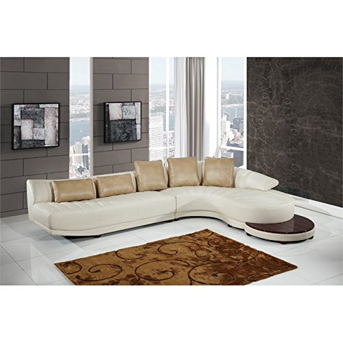 Global Furniture UFM208 - SECTIONAL + ET Blanche Sectional and End Table, Milky/Ivory (Curved Sectional Sofas)
