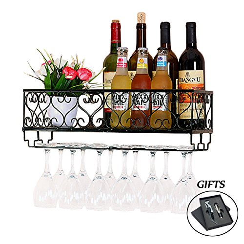 HOMEPOPULAR Metal Wall Mounted Wine Rack With Glass Holder And Bottles Opener Wine Bottle Holder For Living Room Or Kitchen,Black (Hold 12 bottles) by HOMEPOPULAR