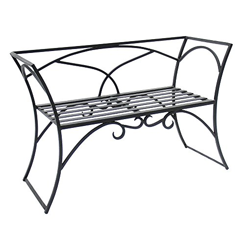 Wrought Iron Arbor Bench With Back ()