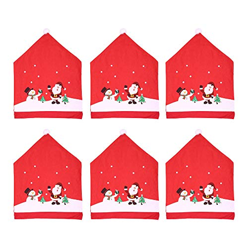 Getadate Christmas Decor, 6 Pcs Kitchen Table Chair Covers Santa Claus Red Hat Chair Xmas Cap, Kitchen Dining Chair Slipcovers for Dining Room Living Room Home Decoration