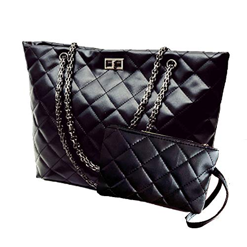 (Quilted Handbags for Women Metal Chain Strap Purses Shoulder Bags)