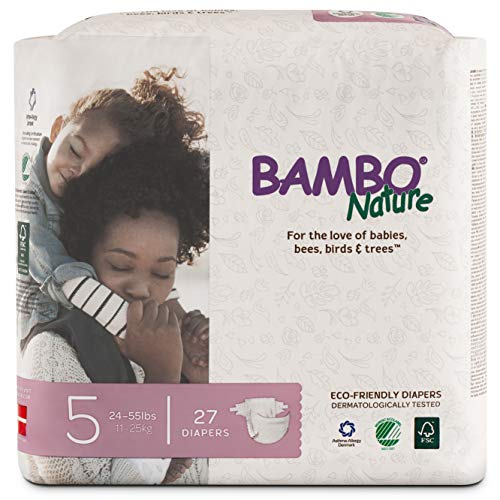 Bambo Nature Premium Baby Diapers, Size 5 (24-55 lbs), 27 Count, Multi-colored