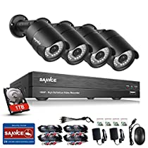SANNCE 1080P Security Camera System DVR with 1TB Surveillance Hard Drive and (4) 1080P 2.0 MP Night Vision CCTV Cameras with Weatherproof Housing, P2P Technology, Smartphone QR Code Scan Quick Access