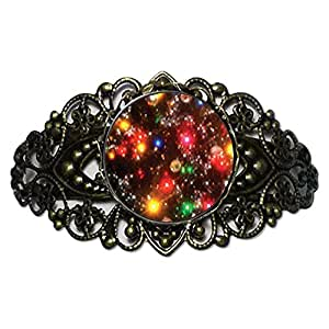 Chicforest Bronze Retro Style Christmas Lights Flower Cuff Bracelet