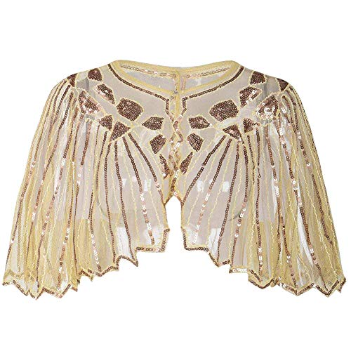 Sequin Scalloped (L'vow Women's Glittering 1920s Shawl Sequin Beaded Wedding Cape Bolero Evening Wrap (Gold))