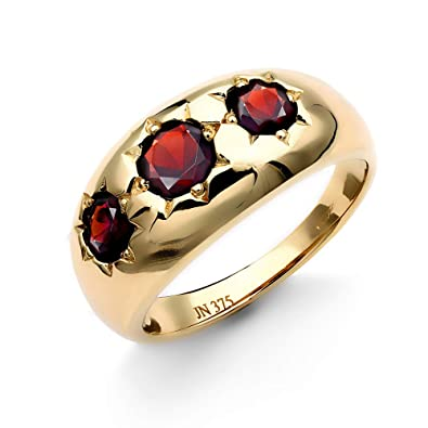 9f1024ceaee7f Jewelco London Men's Solid 9ct Yellow Gold Round Brilliant Garnet Star Set  3 Stone Trilogy Gypsy Ring