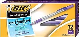 Bic Round Stic Grip Ballpoint Stick Pen, Purple Ink, Medium, Dozen