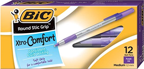Bic Round Stic Grip Ballpoint Stick Pen, Purple Ink, Medium, Dozen