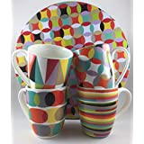 Maxwell & Williams 4 Mug Set With Matching Cake Tin (Sequence Pattern)