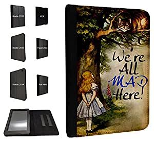 657 - Alice in wonderland Cheshire cat We all Mad Here Design Fashion Trend TPU Leather Flip Case For Amazon Kindle Fire HDX 7'' 2014 Full Case Flip TPU Leather Purse Pouch Defender Stand Cover