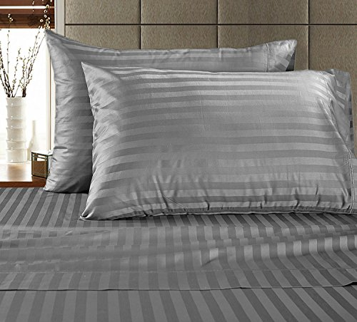 Chateau Home Hotel Collection - Luxury 500 Thread Count 100% Egyptian Cotton Damask Stripe Deep Pocket Super Soft Sateen Weave Sheet Set, Mega Sale Lowest Prices, Queen-Charcoal (Queen Sateen Stripe)