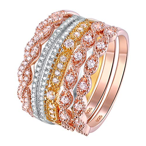 (Newshe Wedding Bands for Women 5pcs Stackable Eternity Ring Set 925 Sterling Silver Cz White Yellow Rose Gold Size 5-10)