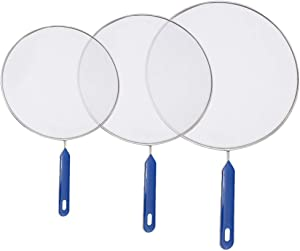 WOPODI 3 Pieces Splatter Screens with Handle Stainless Steel Fine Mesh Oil Shield Grease Guard Splash Protection Device Skillet Cover Fryer Screen Prevents Burns Kitchen Tools for Frying Pan Cooking
