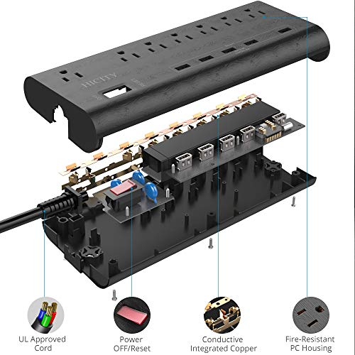 Power Strip Surge Protector with 5 USB Ports 30W6A and 7 Outlets 1625W13A 2100 Joules 6ft Heavy Duty