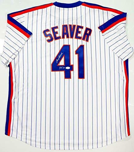 Tom Seaver Autographed Jersey - P S Majestic w HOF 92 W Auth - JSA Certified - Autographed MLB Jerseys