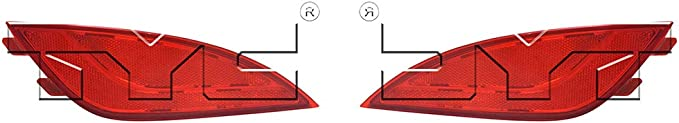 Fits 2010-2015 Hyundai Tucson Passenger Side Rear Bumper Reflector DOT Certified HY1185108 Replaces 92406-2S100 ;