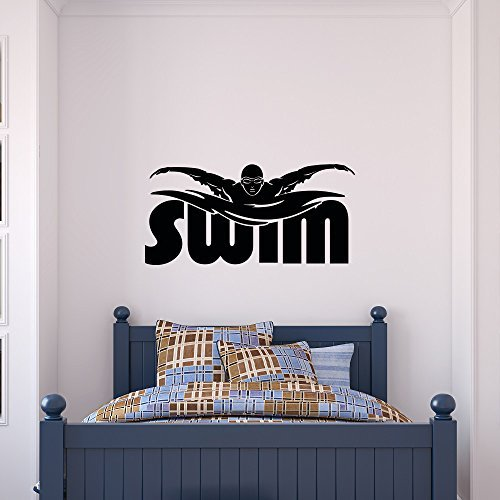 (Sports Wall Decals Vinyl Stickers Swim Decal Swimming Pool Decor Swimmer Gift- Swimming Wall Decal Sports Decor for Boys Kids Room Bedroom Dorm Wall Art Home Decor Q119)