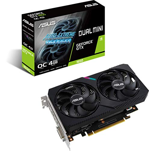 ASUS Dual NVIDIA GeForce GTX 1650 Mini OC Edition Gaming CSM Graphics Card (PCIe 3.0, 4GB GDDR6 Memory, HDMI, DisplayPort, DVI-D, for Intel NUC 9 Extreme Kit, Intel NUC 9 Pro Kit, and Small Chassis)