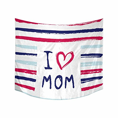 I Love You Mom Phrase with a Heart Tapestries Wall Art Home Decor