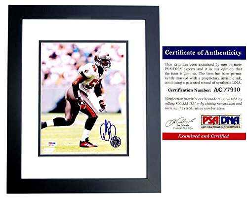 (Derrick Brooks Signed - Autographed Tampa Bay Buccaneers - Tampa Bay Bucs 8x10 inch Photo BLACK CUSTOM FRAME - PSA/DNA Certificate of Authenticity (COA))