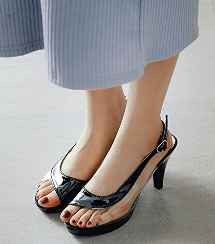 Femme Talon Bal Sandales D'orsay Fille Transparent Aisun Sexy Haut Noir 8cm tdfqqHw