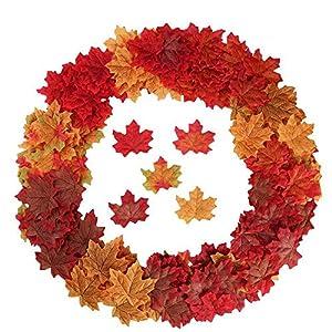 YSBER 200 -500 PCS Artificial Silk Maple Leaves Wedding Party Decoration Kids Scrapbook Accessories 3D Wall Sticker Ornament 1