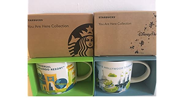 c659a9ccf6c Amazon.com: Set Of 2: Universal Studios Orlando Resort + Disney's Hollywood  Studios You Are Here 14 Ounce Starbucks Mugs: Kitchen & Dining